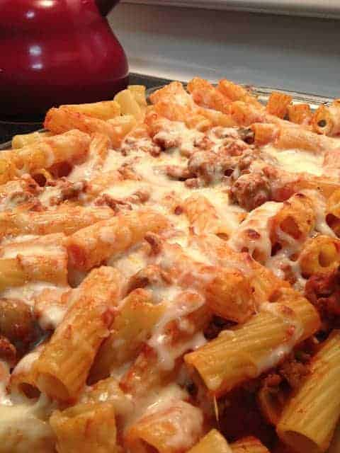 Ground turkey baked rigatoni covered in melted cheese