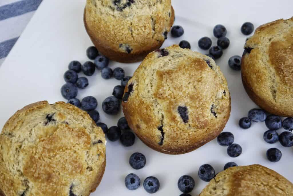 5 large blueberry muffins on a white plate with fresh blueberries