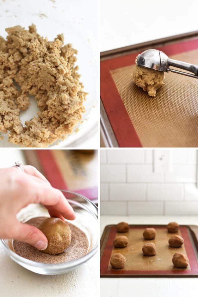 Four photo collage showing the process of portioning out balls of snickerdoodle dough to prepare them for baking
