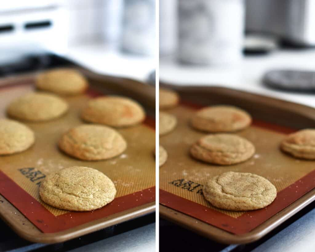 Snickerdoodles cooling on a baking bat