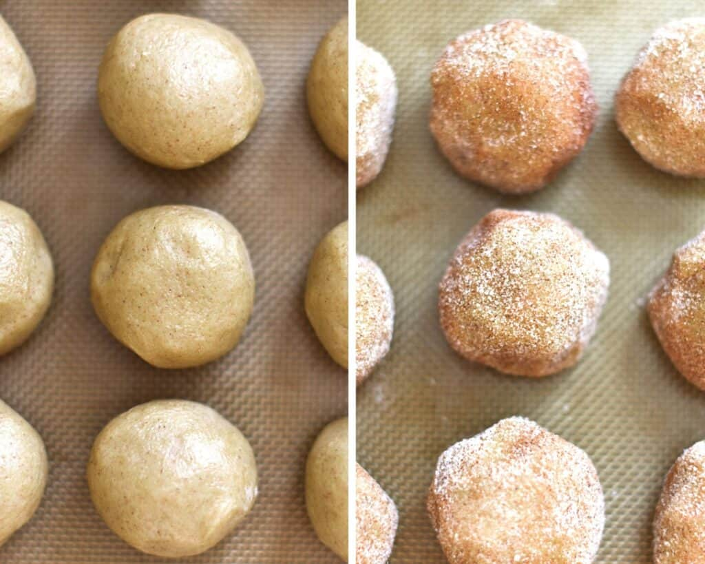 Balls of snickerdoodle dough before and after being rolled in cinnamon sugar
