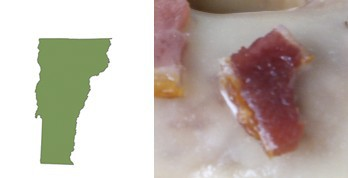 Vermont shaped piece of bacon
