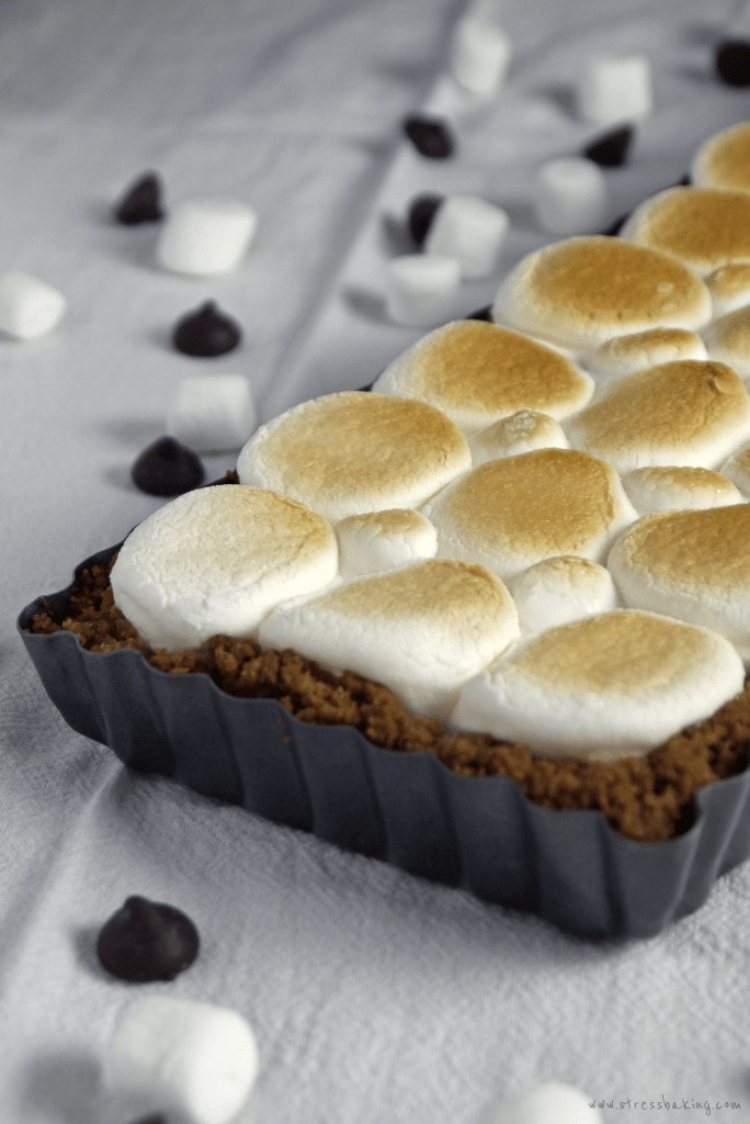 S'mores Tart: A crumbly graham cracker crust filled with rich dark chocolate and topped with toasted marshmallows. | stressbaking.com #stressbaking #smores #nationalsmoresday