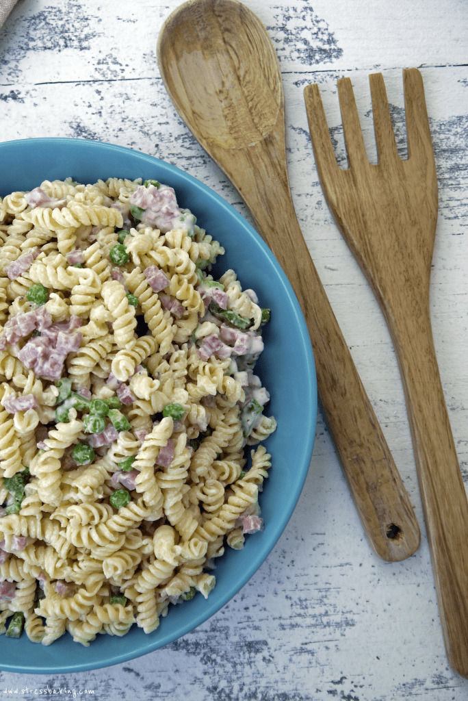Copycat Ruby Tuesday Pasta Salad in a blue bowl