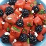 Watermelon and blackberry mint salad