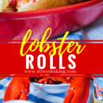 Lobster Roll: No mayo here - just buttery lobster meat lightly tossed with lemon juice and served on a toasted bun. Connecticut style lobster rolls are a New England staple!   stressbaking.com #stressbaking #lobster #seafood #lobsterroll #summer #newengland