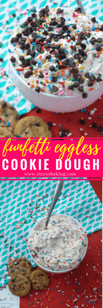 Funfetti Eggless Cookie Dough: Cookie dough that tastes like cake batter, with no baking required. The perfect snack for when you just NEED some cookie dough, but can't handle the idea of turning on the oven. Plus, sprinkles! | stressbaking.com