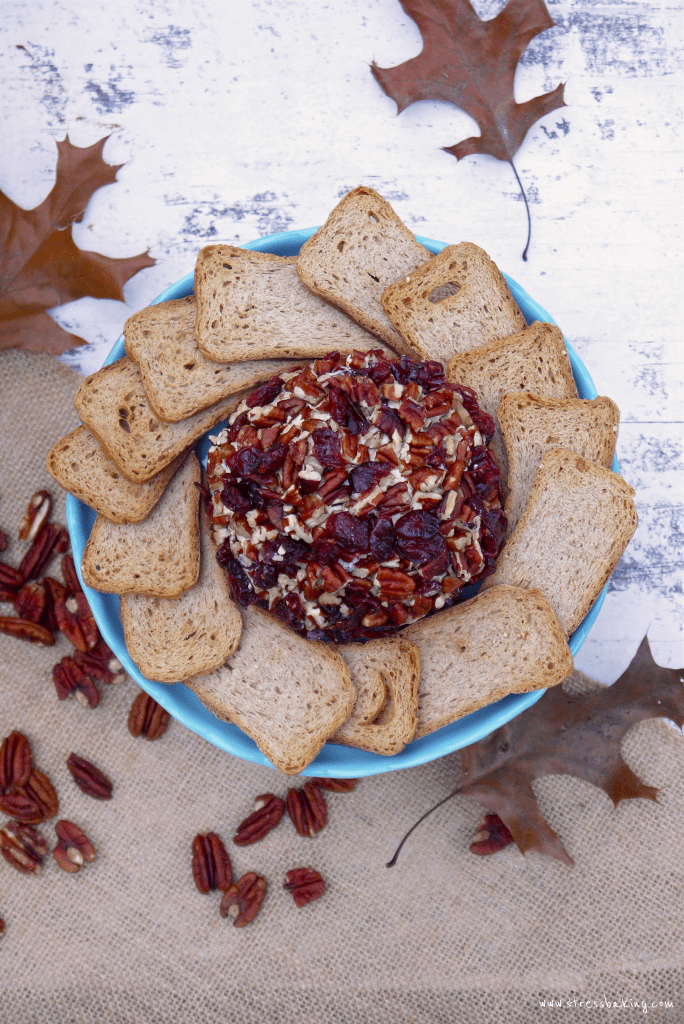 Cranberry Pecan Cheeseball: This creamy cheese combination paired with tart cranberries and crunchy pecans make this the perfect shareable snack! It's the perfect appetizer for Thanksgiving! | stressbaking.com