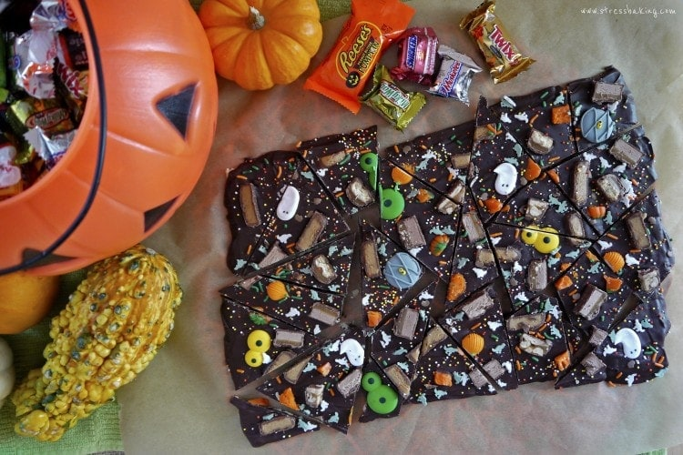 Leftover Halloween Candy Bark