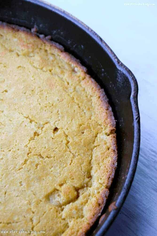 Yellow cornbread in a skillet