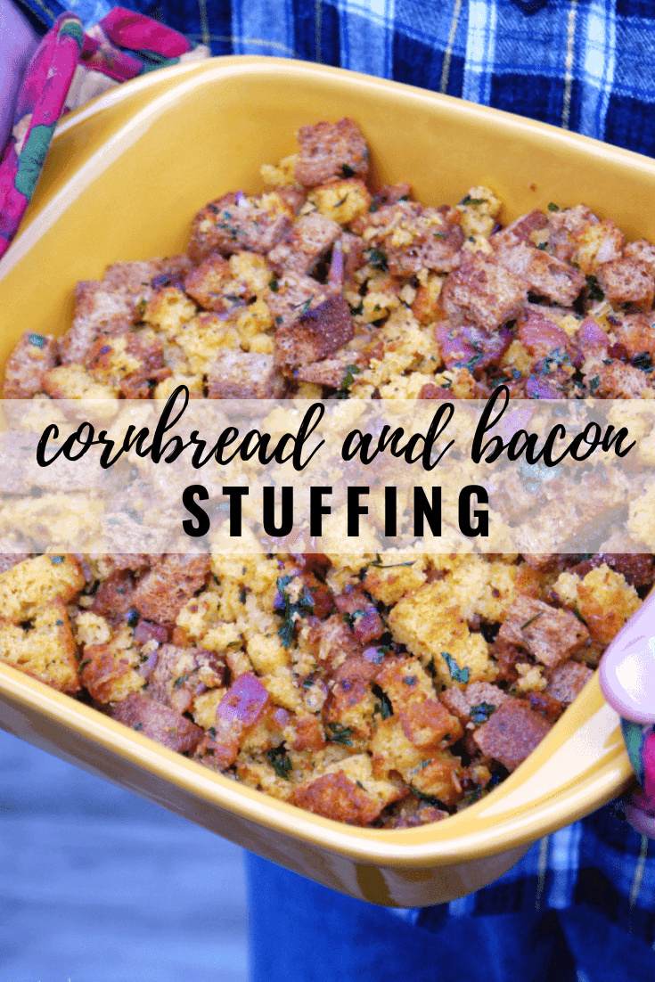 Cornbread and Bacon Stuffing: This warm, fluffy stuffing has the perfect combination of sweet cornbread, crispy bacon and savory herbs. Perfect side dish for Thanksgiving! And since this isn't prepared in the bird itself, it's technically dressing. | stressbaking.com #stressbaking #thanksgiving #stuffing #holidays