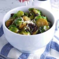 Pan Fried Brussels Sprouts with Bacon