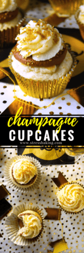 Champagne Cupcakes: Fluffy white cupcakes topped with a chocolate ganache and mascarpone buttercream, and all of them are infused with a zing of champagne. The perfect New Year's Eve treat! | stressbaking.com #newyearseve #newyears #holidays #champagne