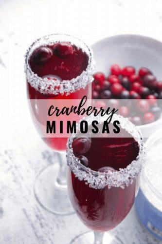 Cranberry Mimosas and a bowl of fresh cranberries