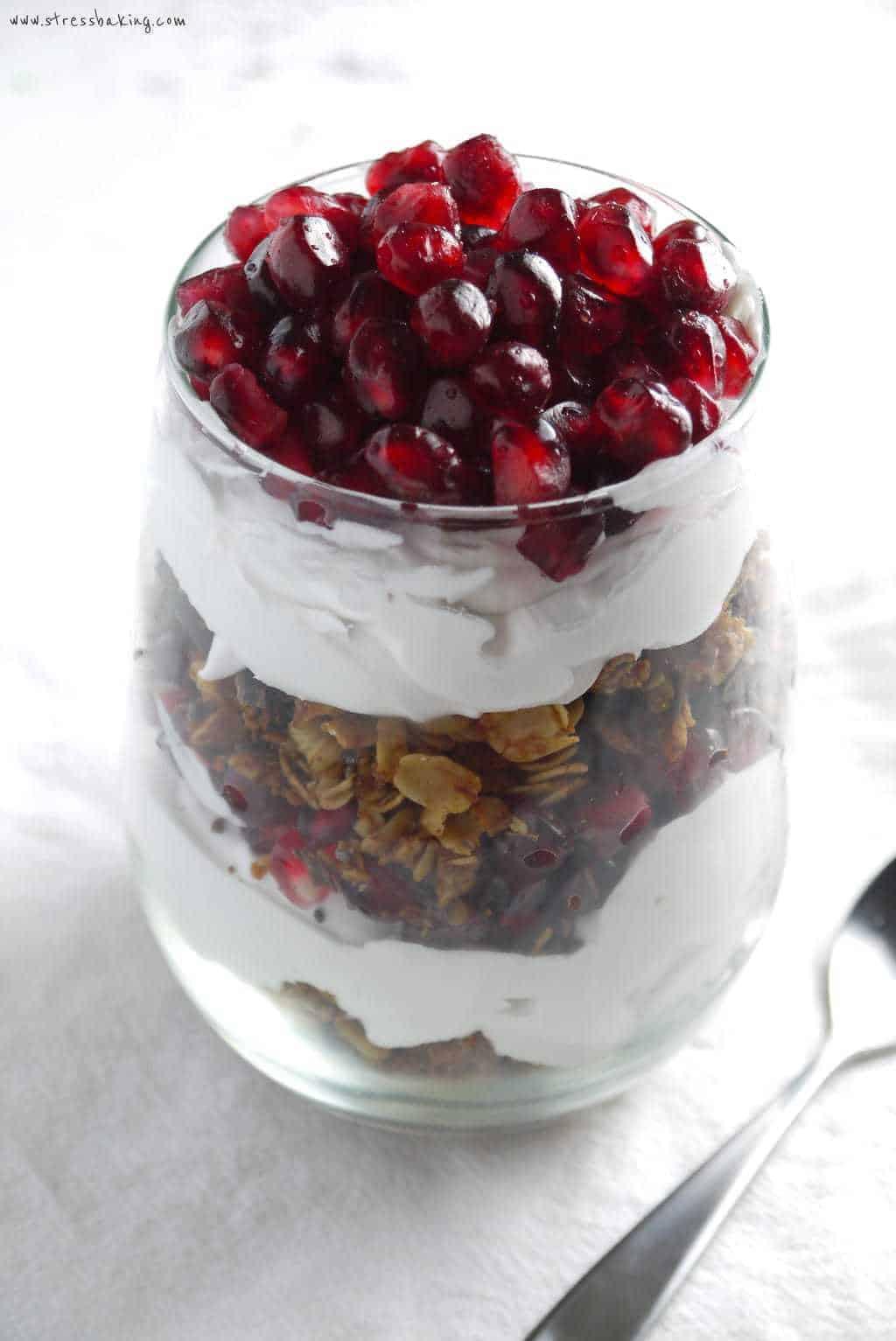 Coconut Pomegranate Granola Parfait