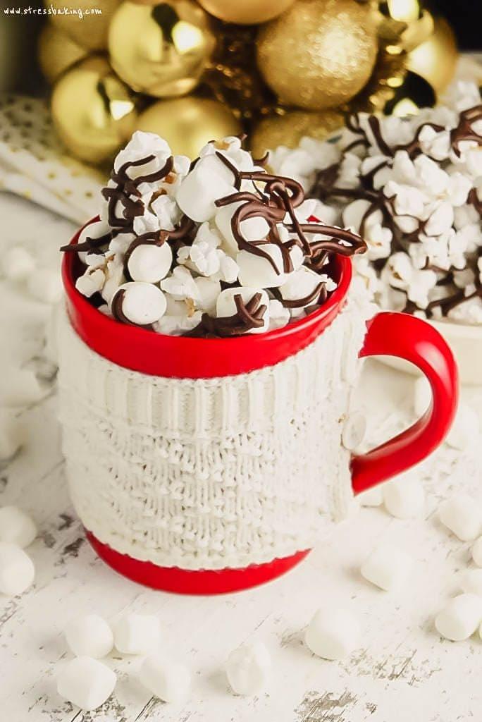Hot Chocolate Popcorn in a red mug