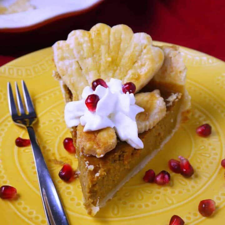 Nautical Pumpkin Pie with Mascarpone Whipped Cream and Pomegranate
