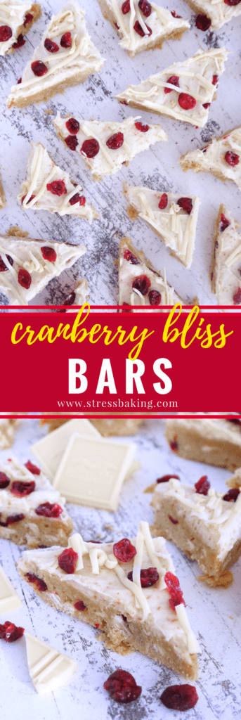 Cranberry Bliss Bars: My version of Starbucks' white chocolate and cranberry treat - save money and get just as much holiday flavor by making Cranberry Bliss Bars at home!   stressbaking.com