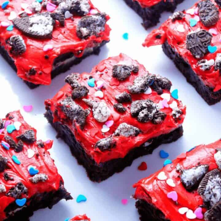 Oreo Stuffed Brownies with Red Velvet Frosting