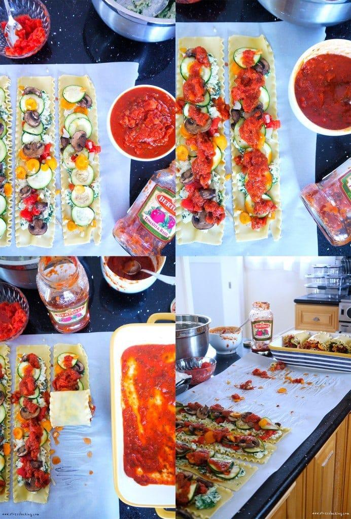 Step by step veggie lasagna prep
