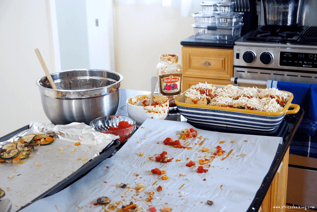 Making a mess prepping veggie lasagna