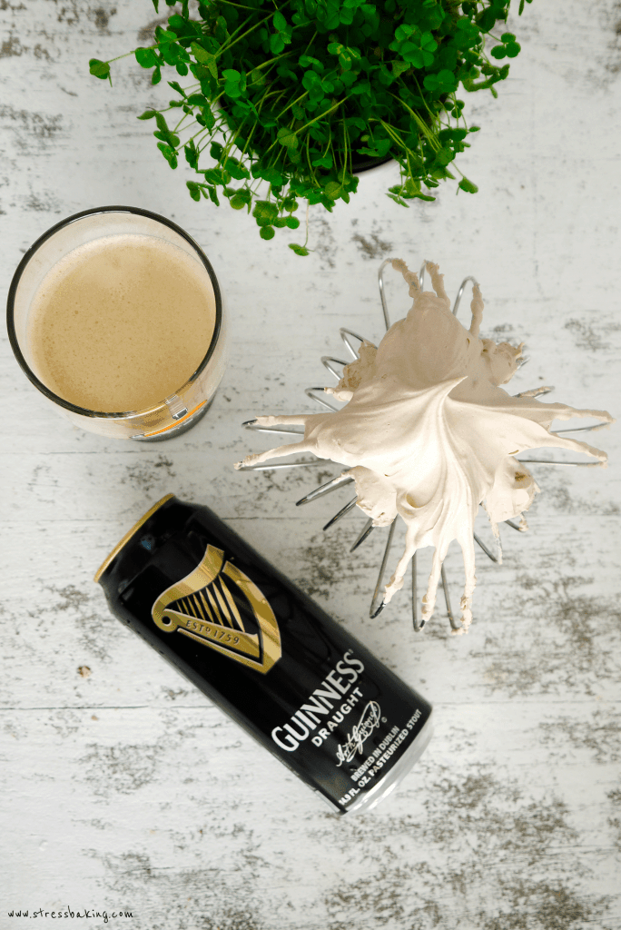Chocolate Guinness Whipped Cream: Unbelievably creamy chocolate whipped cream with a subtle yet distinctive flavor of Guinness malt. Looks just like the foamy head on a pint! This boozy whipped cream will be your new favorite! | stressbaking.com