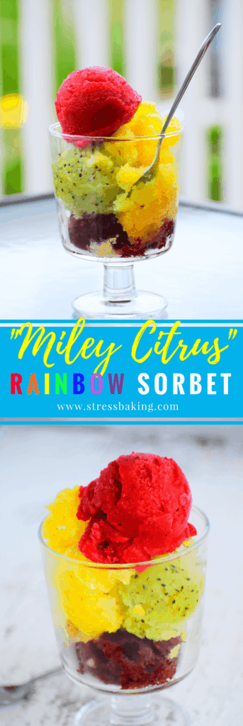 Miley Citrus Rainbow Sorbet: A delightfully colorful and fruity collection of sorbet and sherbet with a playful name that's perfect for a hot summer day! | stressbaking.com