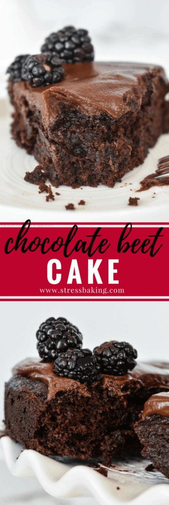 Chocolate Beet Cake: This dark chocolate cake with a moist and tender crumb includes a vegetable that no one would ever know is hidden inside: beets! | stressbaking.com