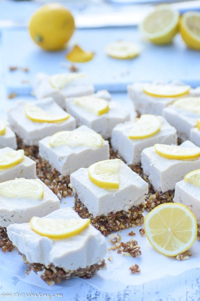 Slices of raw lemon cheesecake bars topped with thin lemon slices on a white counter