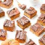 Paleo Nutella Swirled Pumpkin Pie Bars: The perfect alternative to pumpkin pie! Homemade Nutella swirl through a thick layer of pumpkin pie filling, sitting atop a shortbread crust - you won't believe they're gluten free, dairy free, and paleo. | stressbaking.com