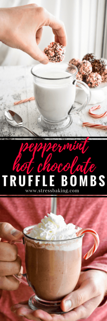 Peppermint Hot Chocolate Truffle Bombs: These festive little chocolate truffles are just waiting to be dropped in a mug of hot milk to create creamy and delicious peppermint mocha hot chocolate! | stressbaking.com #stressbaking #holidays #christmas #peppermint #hotchocolate