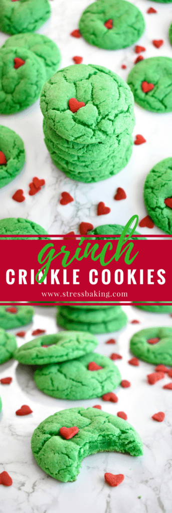 Grinch Crinkle Cookies: Festive, cakey cookies that bear a strong resemblance to a certain Christmas Grinch! | stressbaking.com #stressbaking #christmas #holidays #grinch #christmascookies