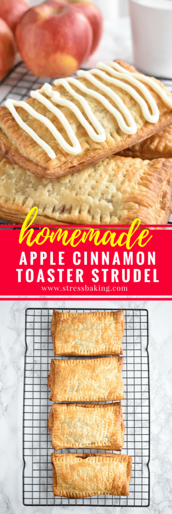 Homemade Apple Cinnamon Toaster Strudel: Nostalgia at its best! Puff pastry envelops warm a warm apple cinnamon filling and is topped with a hearty vanilla cream cheese drizzle.   stressbaking.com
