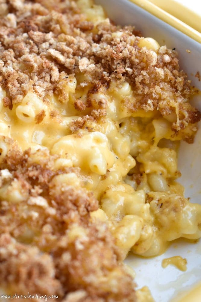Creamy, melty mac and cheese topped with breadcrumbs