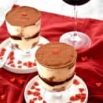 Tiramisu for Two: Creamy, rich layers bursting with the flavors of espresso and liqueur - made especially for two! The perfect romantic Valentine's Day dessert! | stressbaking.com #valentinesday #tiramisu #dessert #trifle