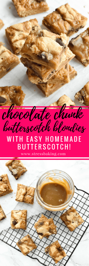 Chocolate Chunk Butterscotch Blondies: Soft and chewy blondie bars loaded with dark chocolate chunks and ribbons of gooey, rich, homemade salted butterscotch. | stressbaking.com @stressbaking #stressbaking #blondies #chocolate #chocolatechunk #butterscotch #dessert #recipe