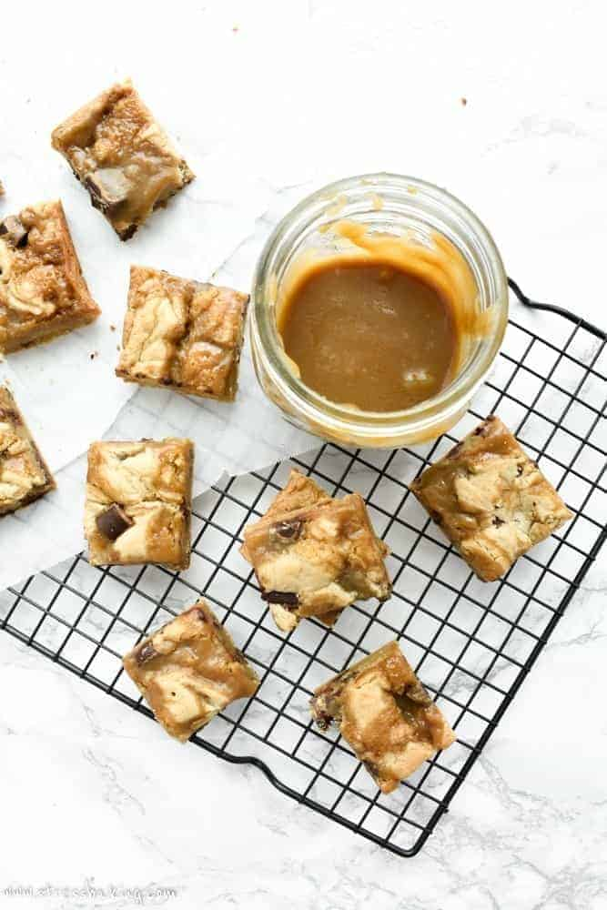 Chocolate Chunk Butterscotch Blondies   stressbaking.com