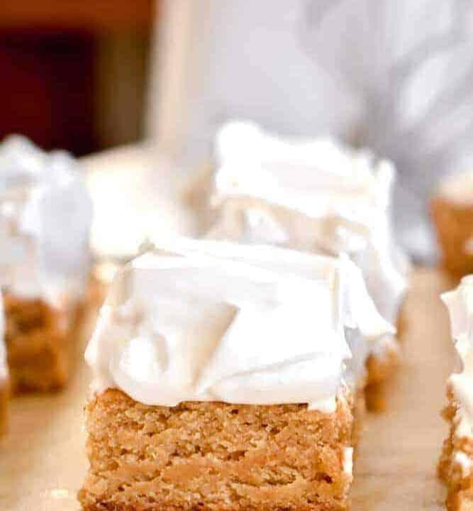 Fluffernutter bars: peanut butter blondies topped with homemade marshmallow fluff
