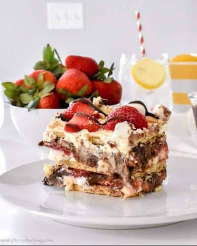 A slice of No Bake Strawberry S'mores Icebox Cake