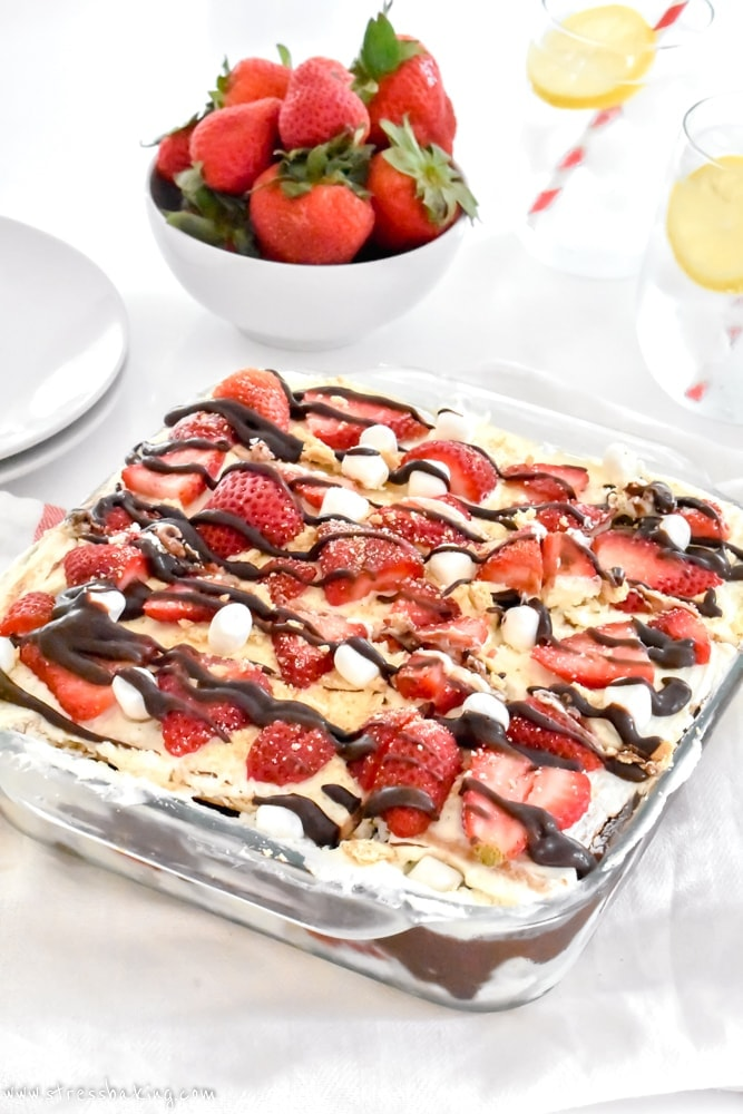 No Bake Strawberry S'mores Icebox Cake