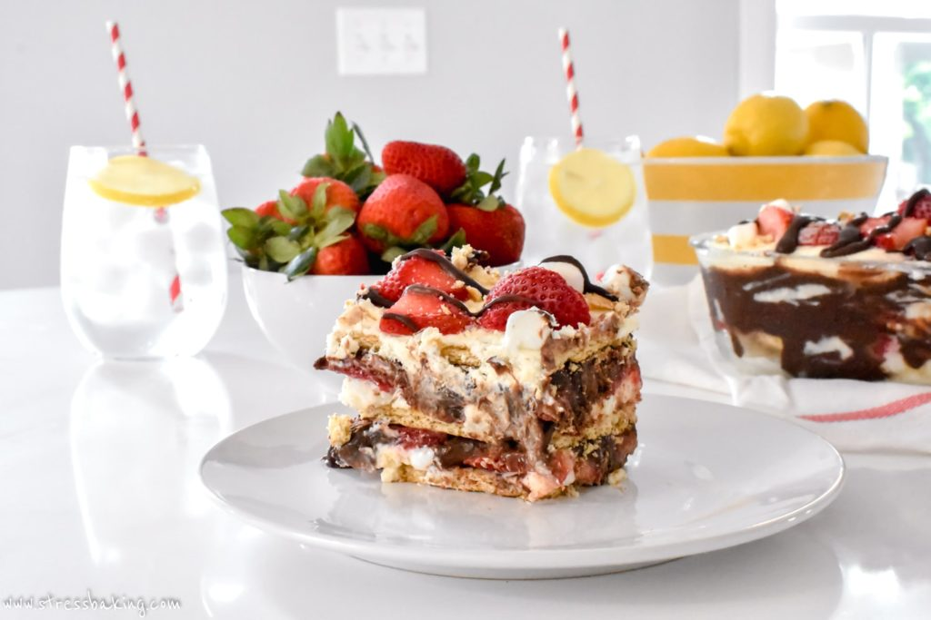 A slice of No Bake Strawberry S'mores Icebox Cake
