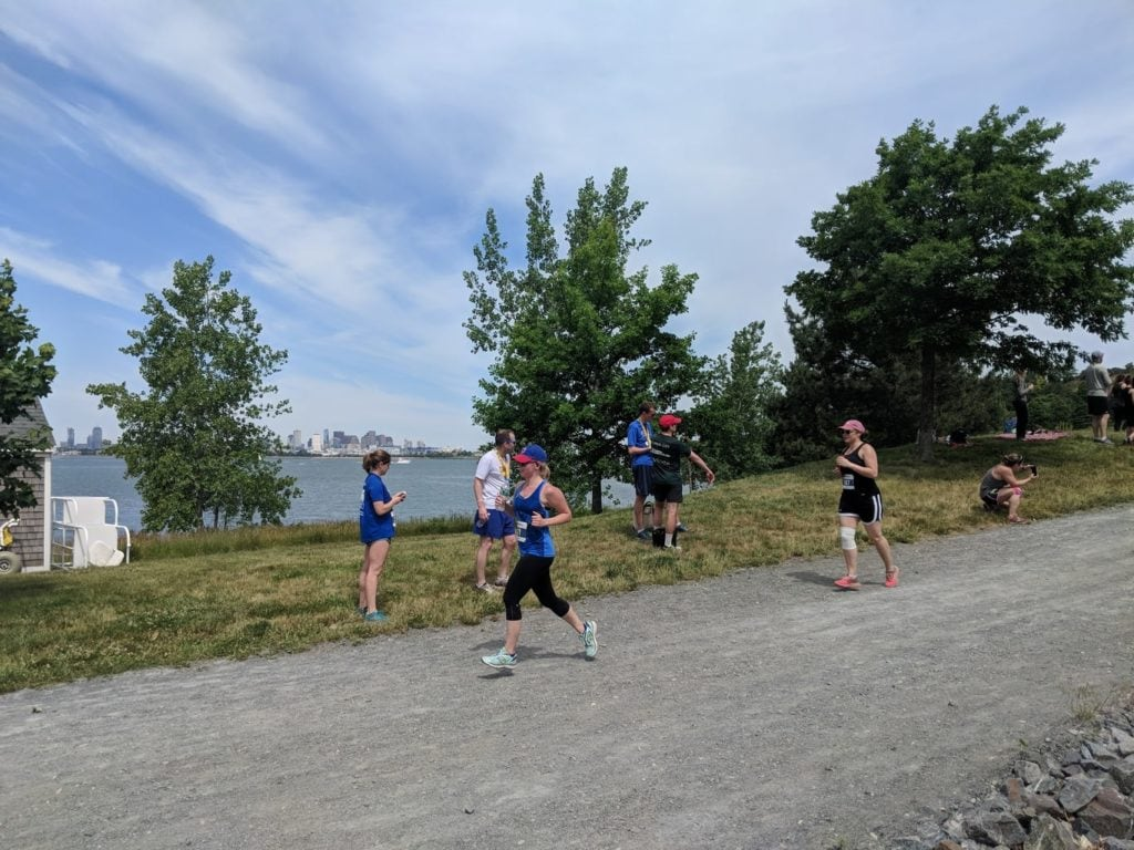 Leslie Haasch running the Spectacle Island 5K