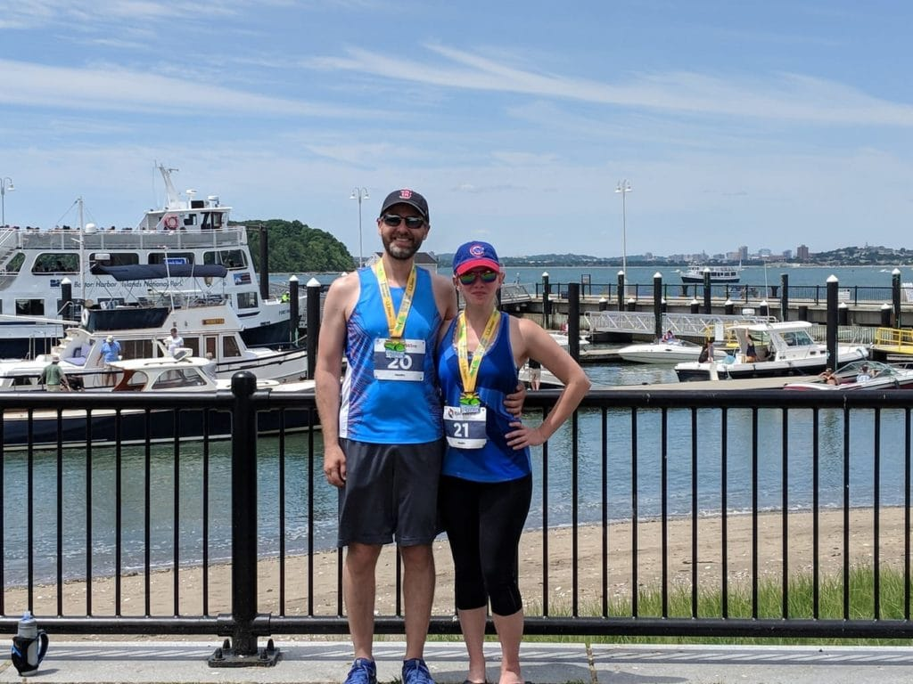 Bill and Leslie after the Spectacle Island 5K