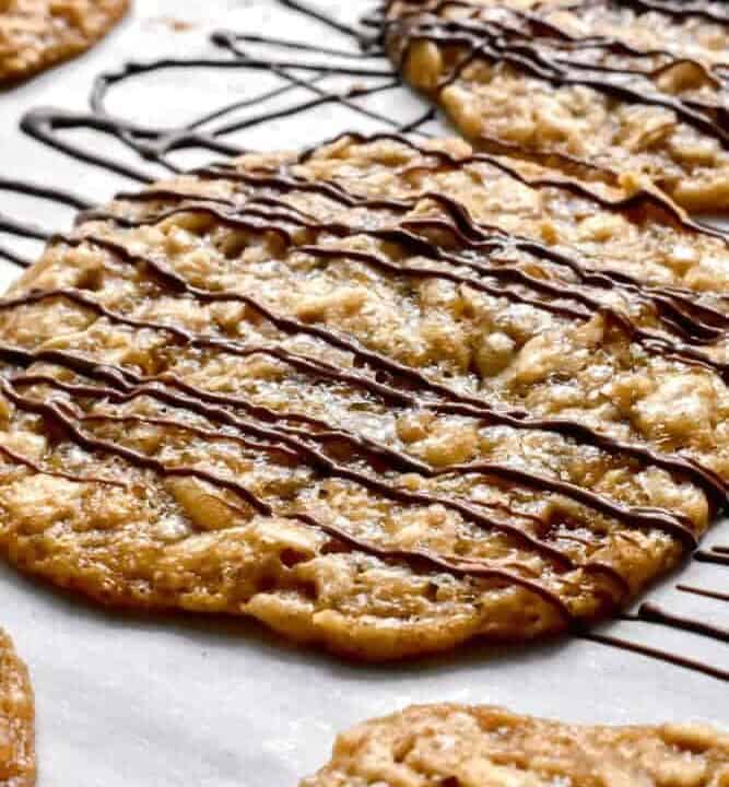 Oatmeal Lace Cookies drizzled with dark chocolate