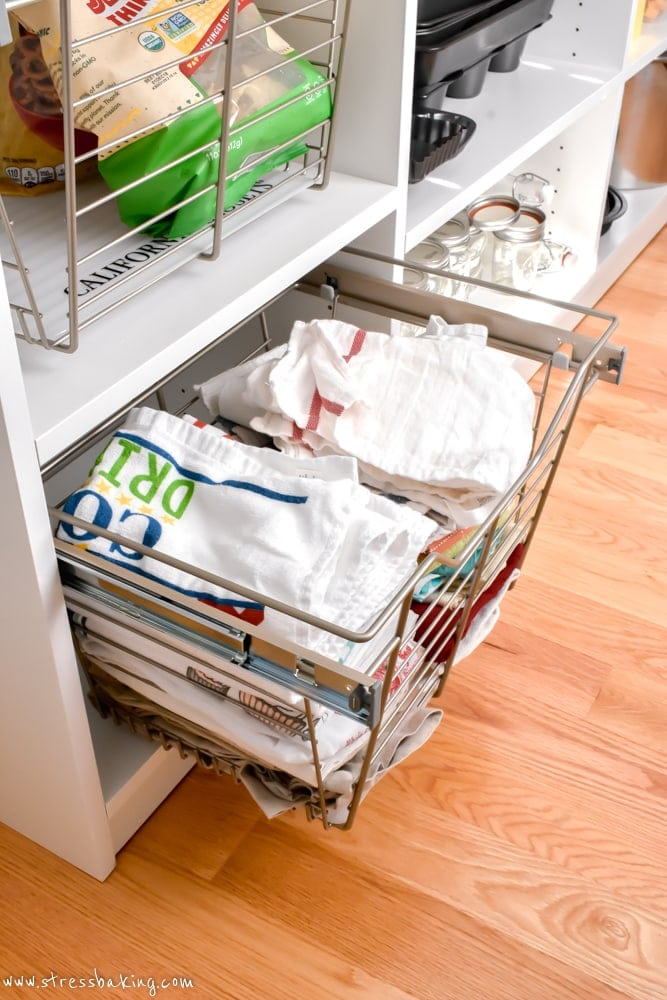 California Closets Pantry drawer with linens