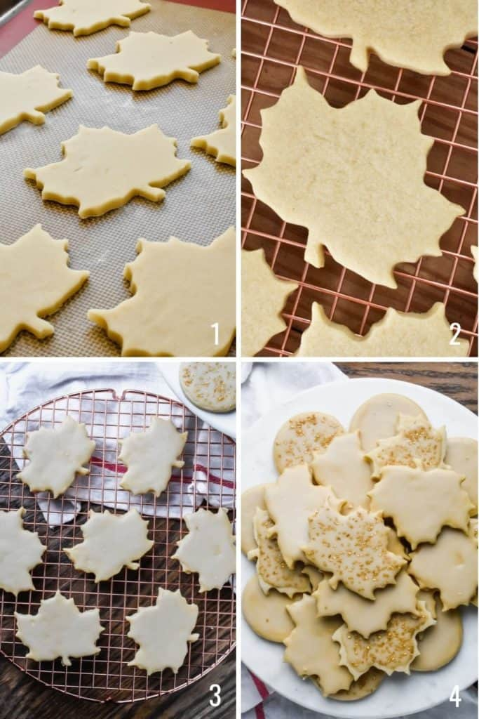 Four photo collage showing the process of frosting maple sugar cookies