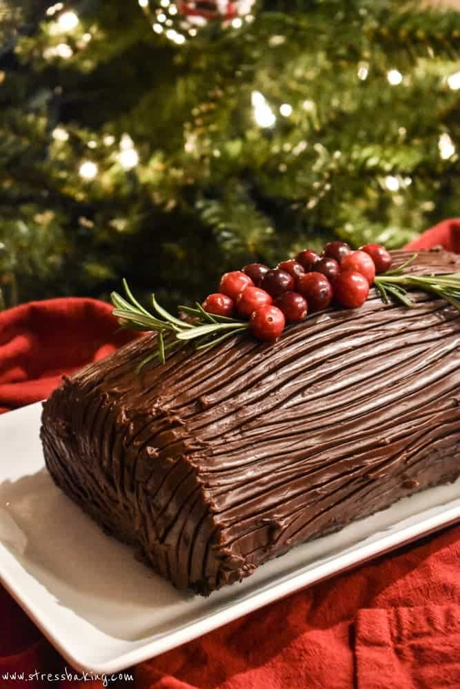 Yule Log Cake on a white platter in front of a Christmas tree