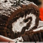A close up of the inside of a sliced yule log cake