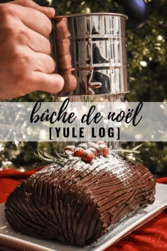 Yule Log Cake being dusted with powdered sugar