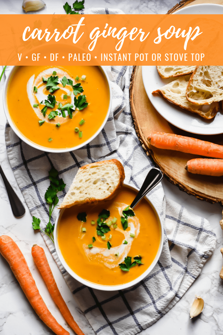 Carrot Ginger Soup: This carrot ginger soup makes for an easy, healthy and heartwarming winter dish! It's creamy with a subtle spicy kick of ginger, gluten free, dairy free, sugar free and perfect for those on a paleo diet. Includes directions for making in an Instant Pot as well as on your stove top. | stressbaking.com @stressbaking #stressbaking #instantpot #vegan #vegetarian #glutenfree #dairyfree #paleo #soup #easyrecipe #winter #winterecipe #healthy #sugarfree #realfood #slowcooker
